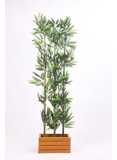 Kibrithane Çiçek Yapay Ağaç Dekoratif Ahşap Saksıda 3'Lü Bambu Kc00300013 Renkli